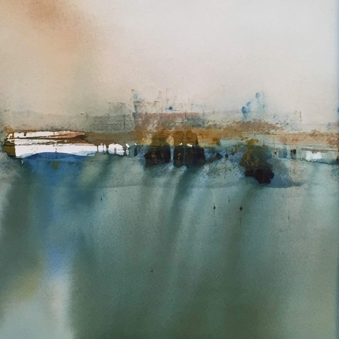 Boats at harbour by Penny Newman (framed)