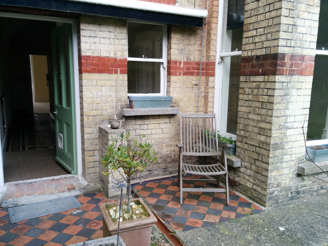 Back door with inviting chair