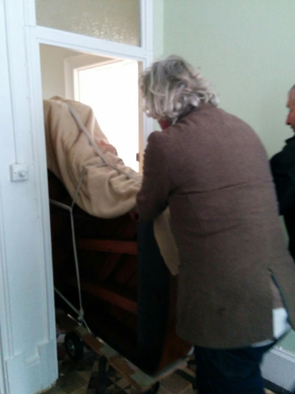 In through the door to the flat