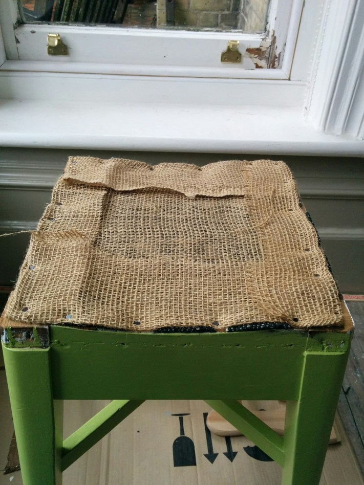 Hessian layer to stool seat