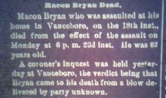 The Murder of Macon Bryan (ca. 1837-1899)