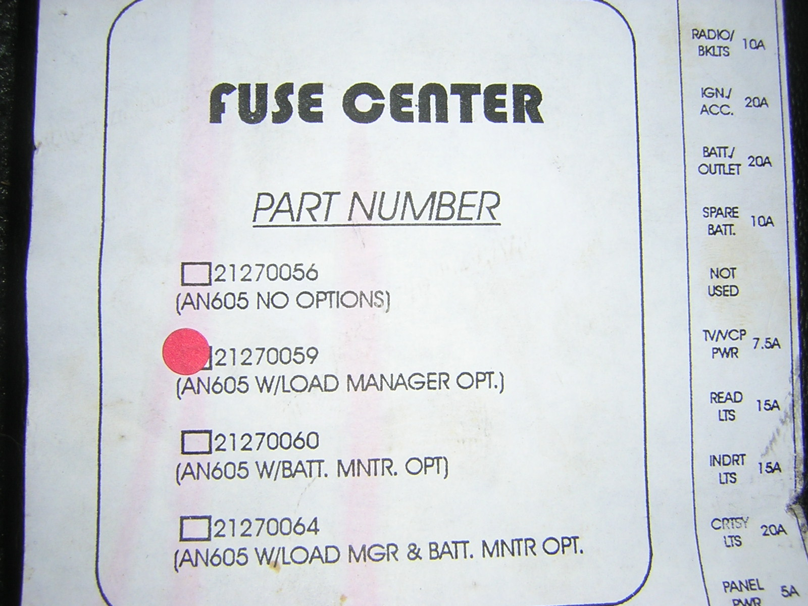 hight resolution of an 605 fuse control center