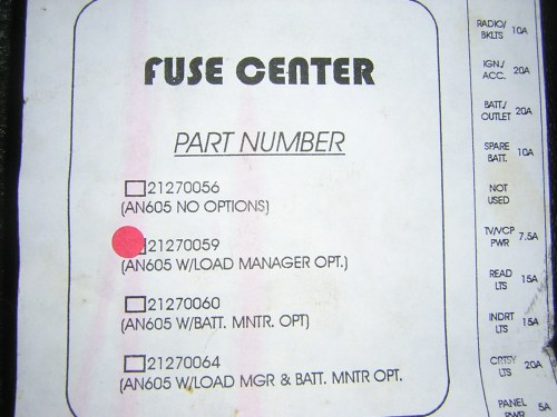 small resolution of an 605 fuse control center