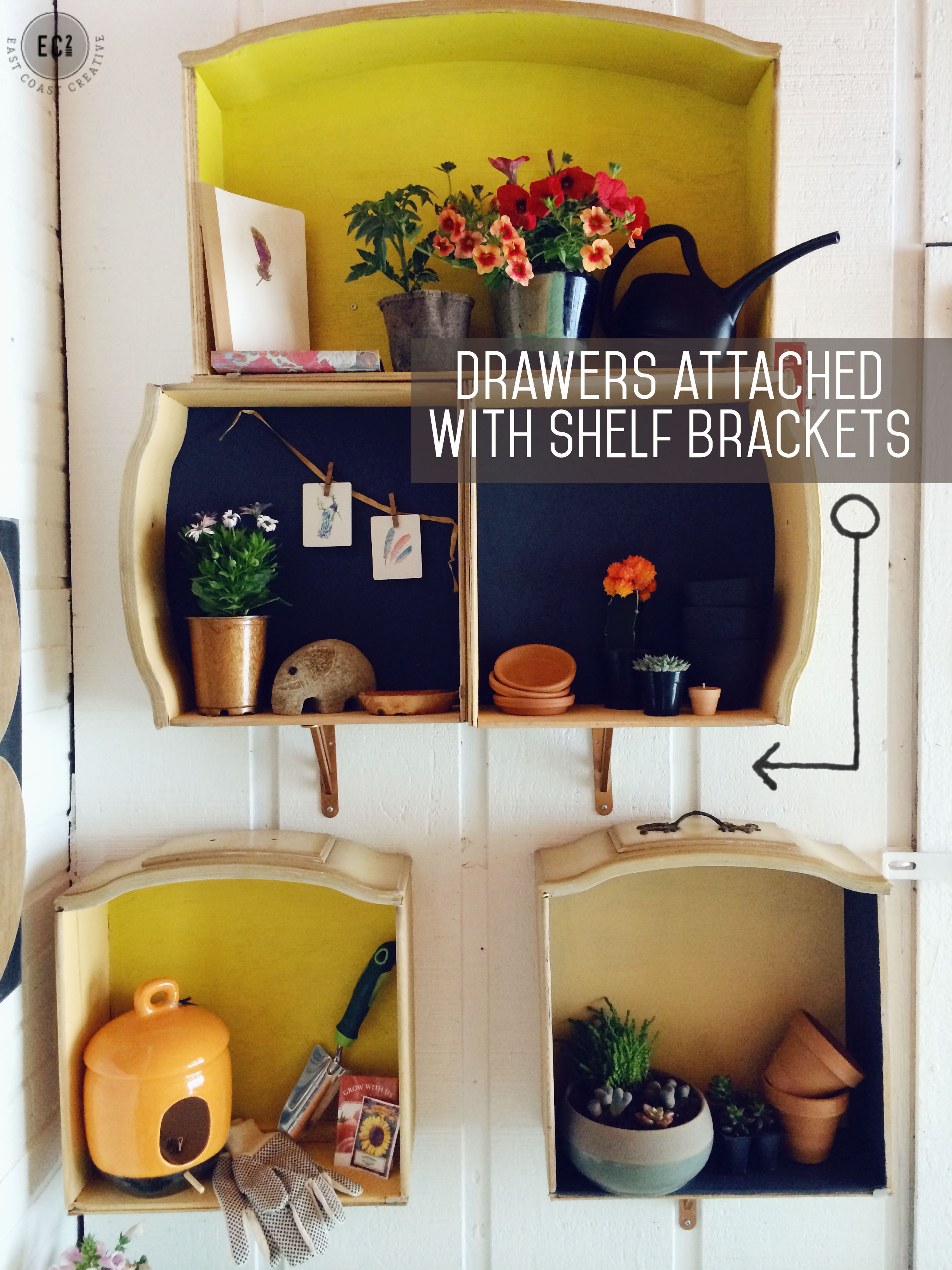 how to make wall shelves out of old dresser drawers - east coast