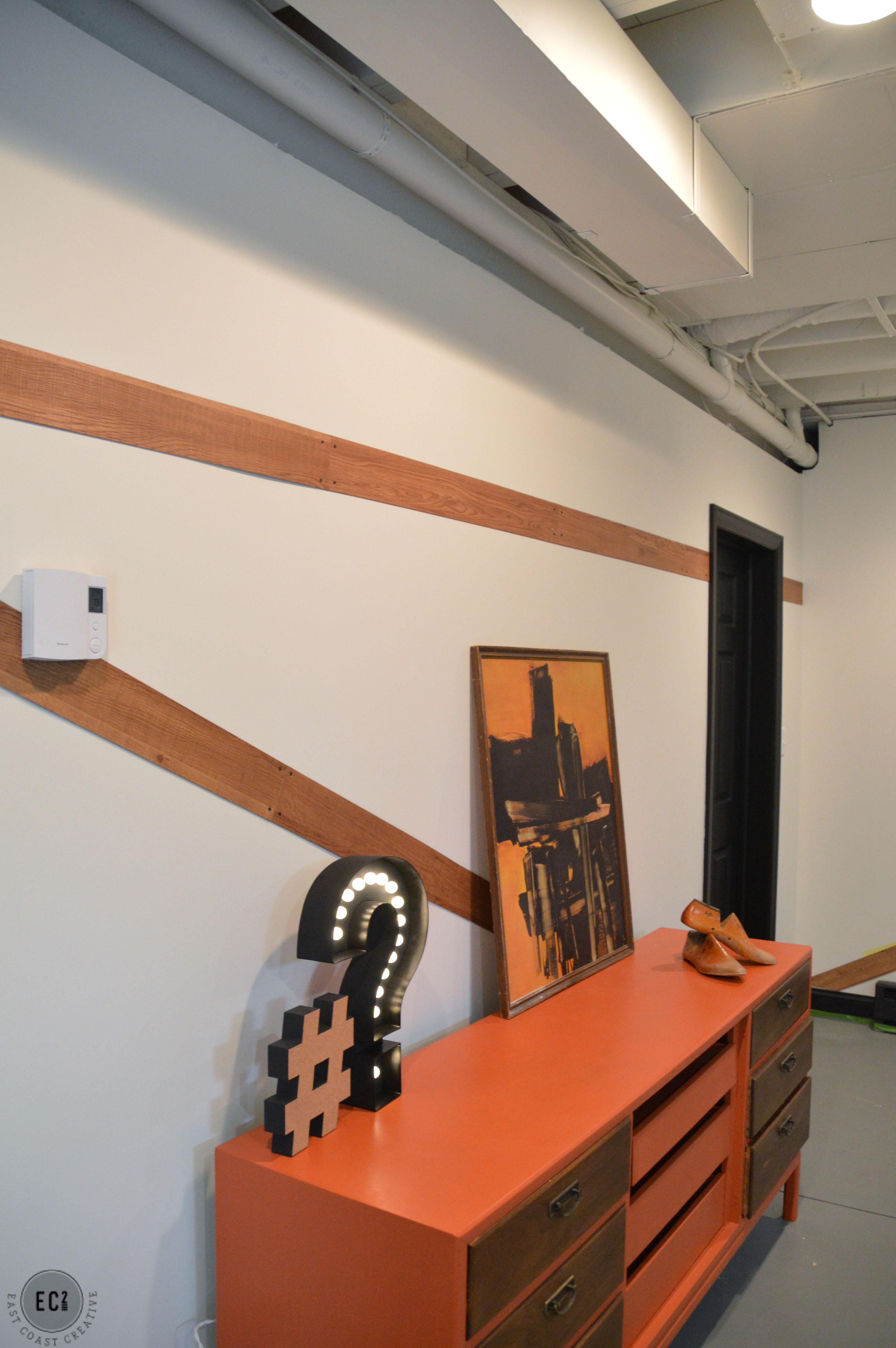 Modern Accent Wall using Vinyl Flooring