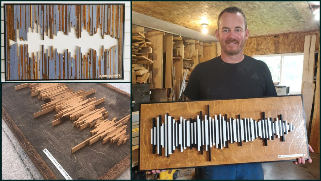 Creations East woodworking sound wave art