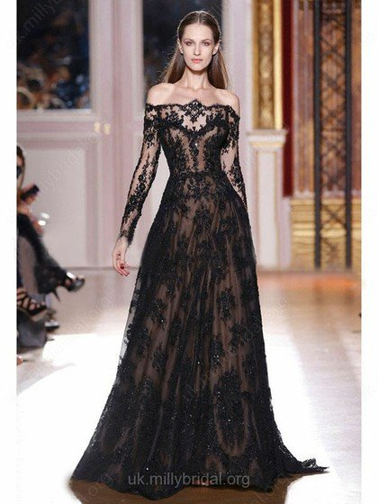 off the shoulder, lace, A-line, formal gown, black