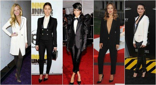 tuxedo, Blake Lively, Jessica Biel, Rihanna, Olivia Wilde and Sophia Bush
