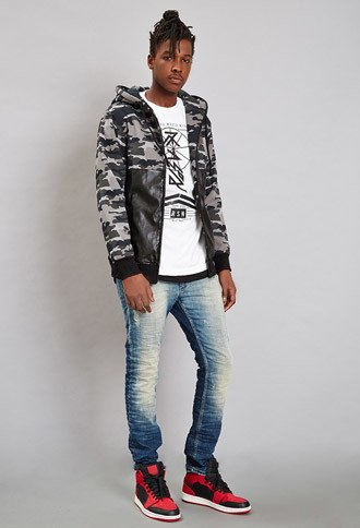 men's fashion, trendy, sweater, Reason Faux Leather Camo Hoodie, forever 21, oh man