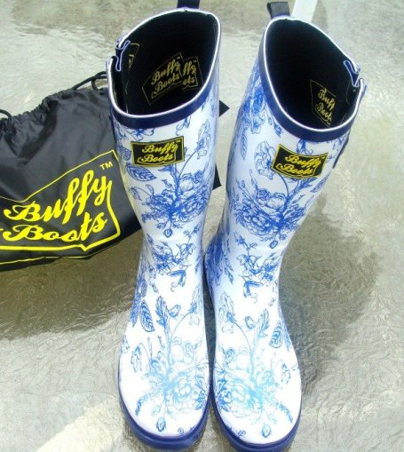 rain boots, Boofy Boots, blue and white, high quality rain boots