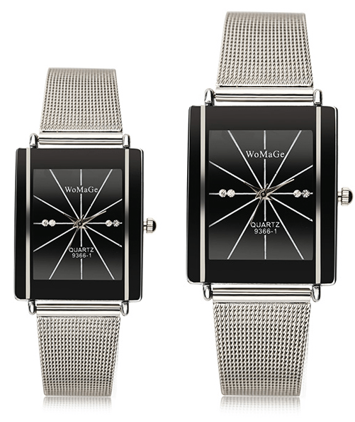 Stainless steel rectangle face watch