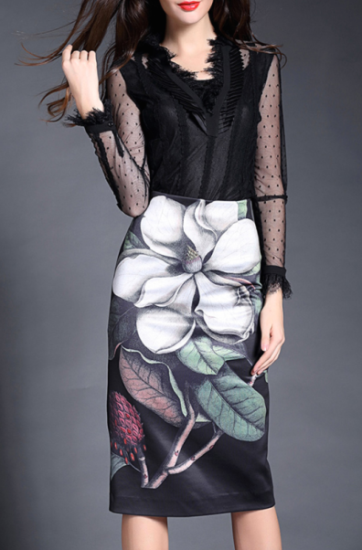 The Trendiest Colors, floral pencil skirt, dezzal