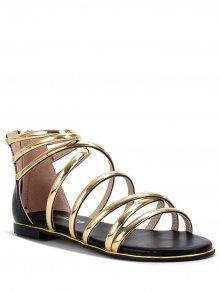 Zip Straps Flat Heel Sandals
