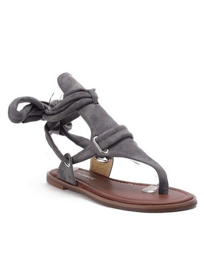 Flock Lace-Up Flat Heel Sandals