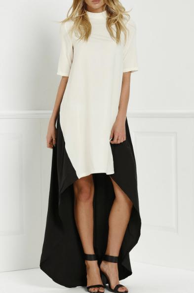 Round Neck Color Block Splicing Dress