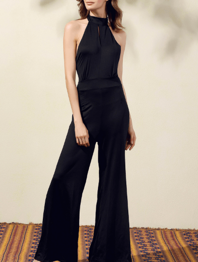 Black Halter Wide Leg Jumpsuit