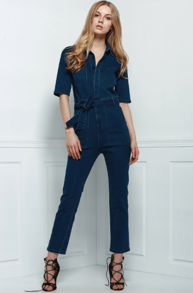 Denim Patch Pocket Flared Jumpsuit