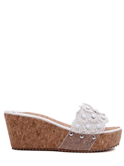 Floral Platform Wedge Heel Slippers