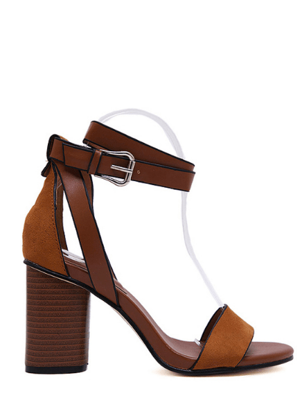 Chunky Heel Suede Ankle Strap Sandals