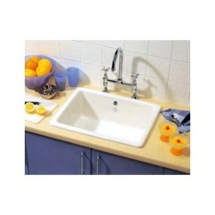 Ceramic Kitchen Sink Tiled Island Shaws Of Darwen Inset 595 X 460mm 1 Single Topmount Classic 0 Top Mount Undermount