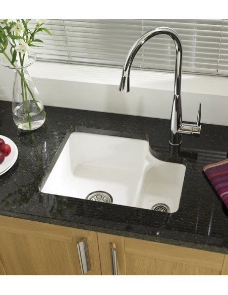 ceramic kitchen sink moen waterhill faucet glossy white 1 5 bowl only 335 includes waste the brook