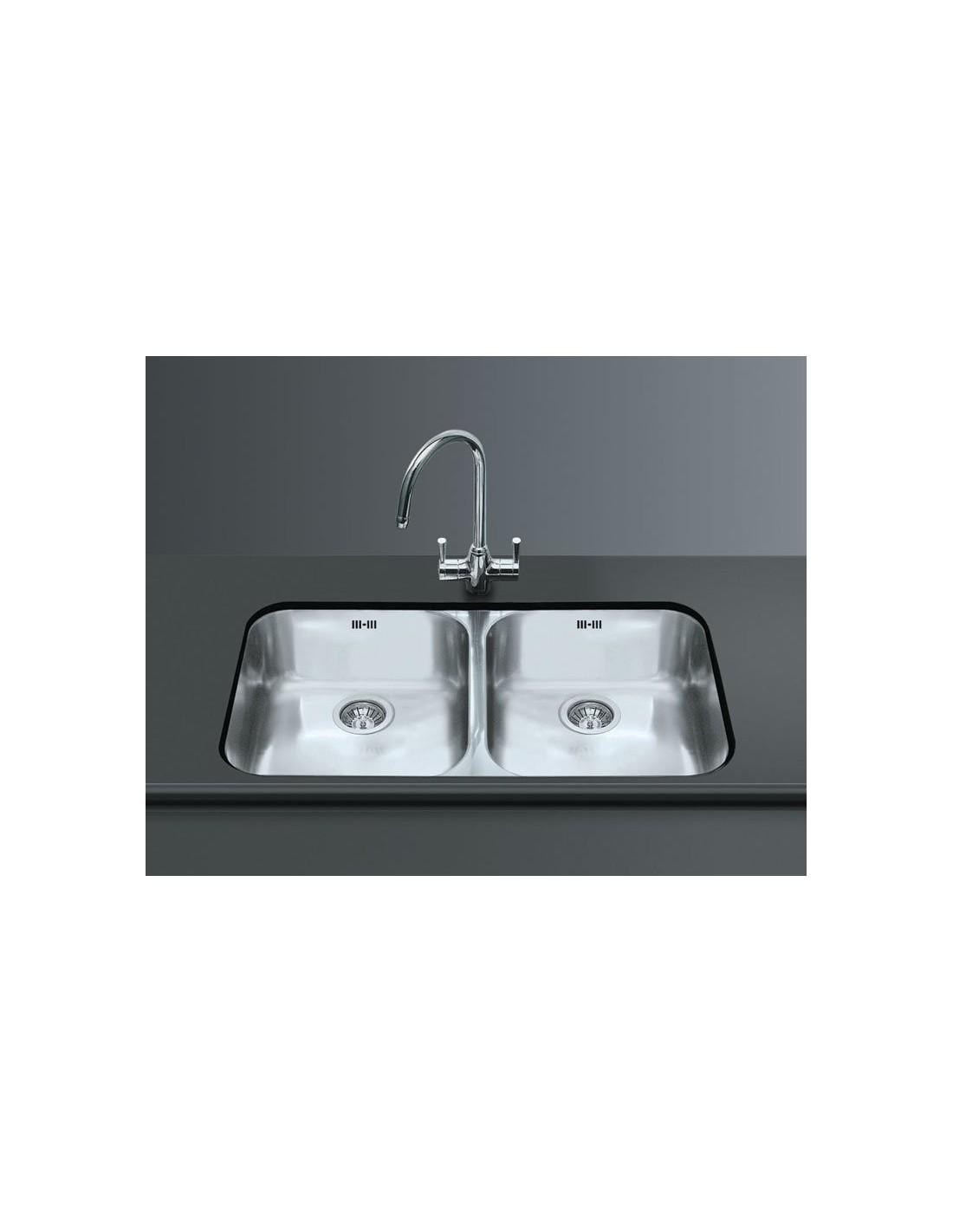 kitchen double sink chalkboard wall smeg um4545 undermount large