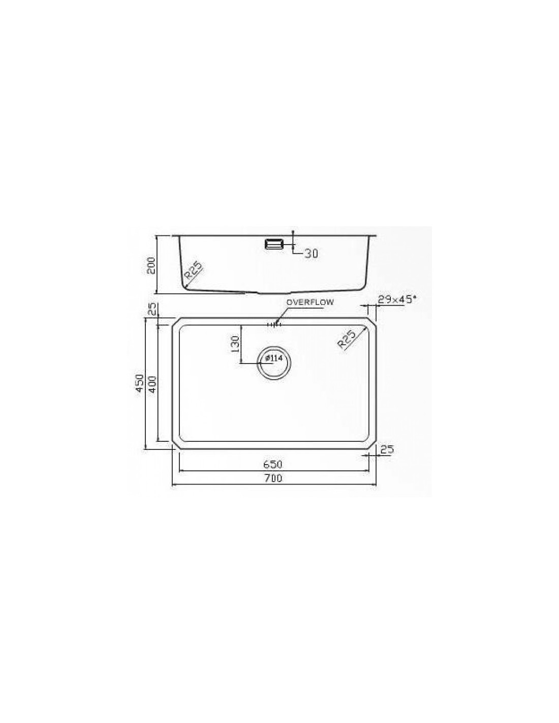 Sa65 Extra Large Undermount Sink 700 X 450mm The Salsa