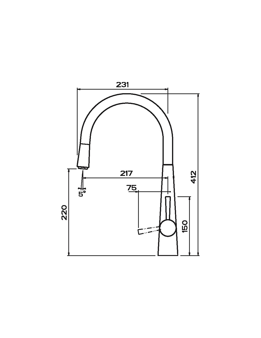 Clearwater Porrima PO3CP, Tapered Tall Kitchen C Spout