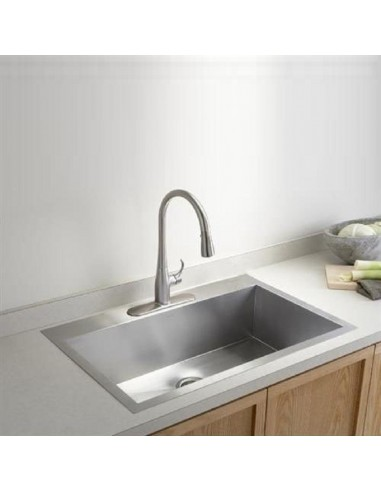 large kitchen sinks silver cabinet knobs vault by kohler quality square modern 3821 bowl