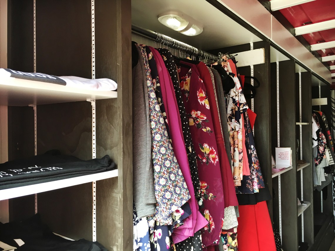 Clothing hanging in In Pursuit Mobile Boutique