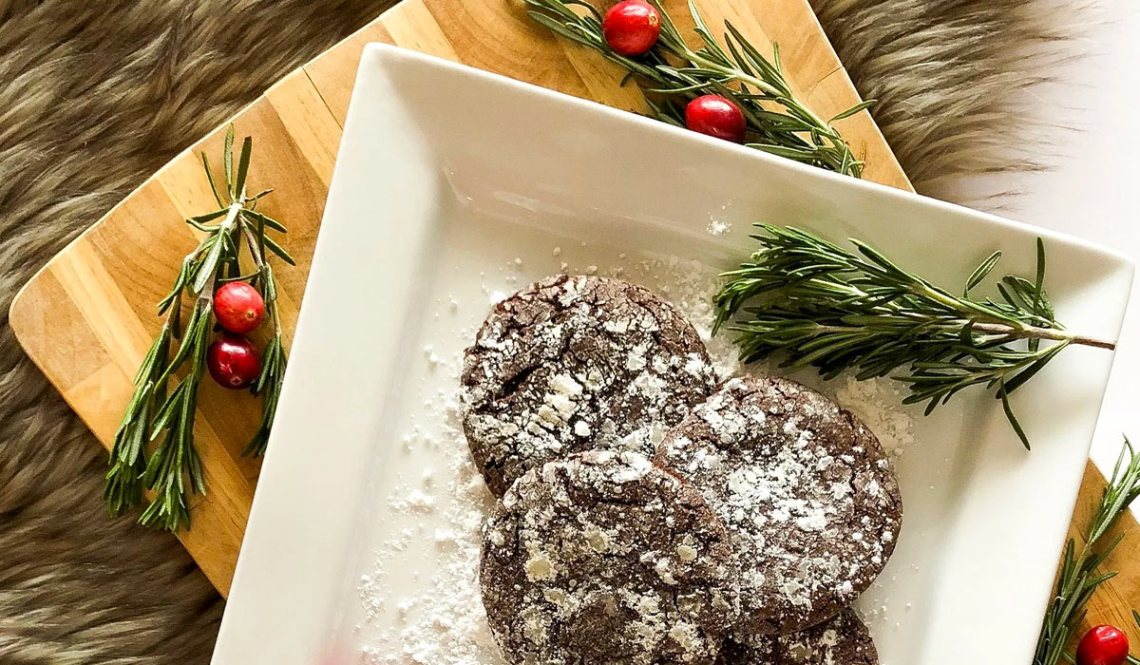Sea Salt + Caramel Chocolate Crinkle Cookies