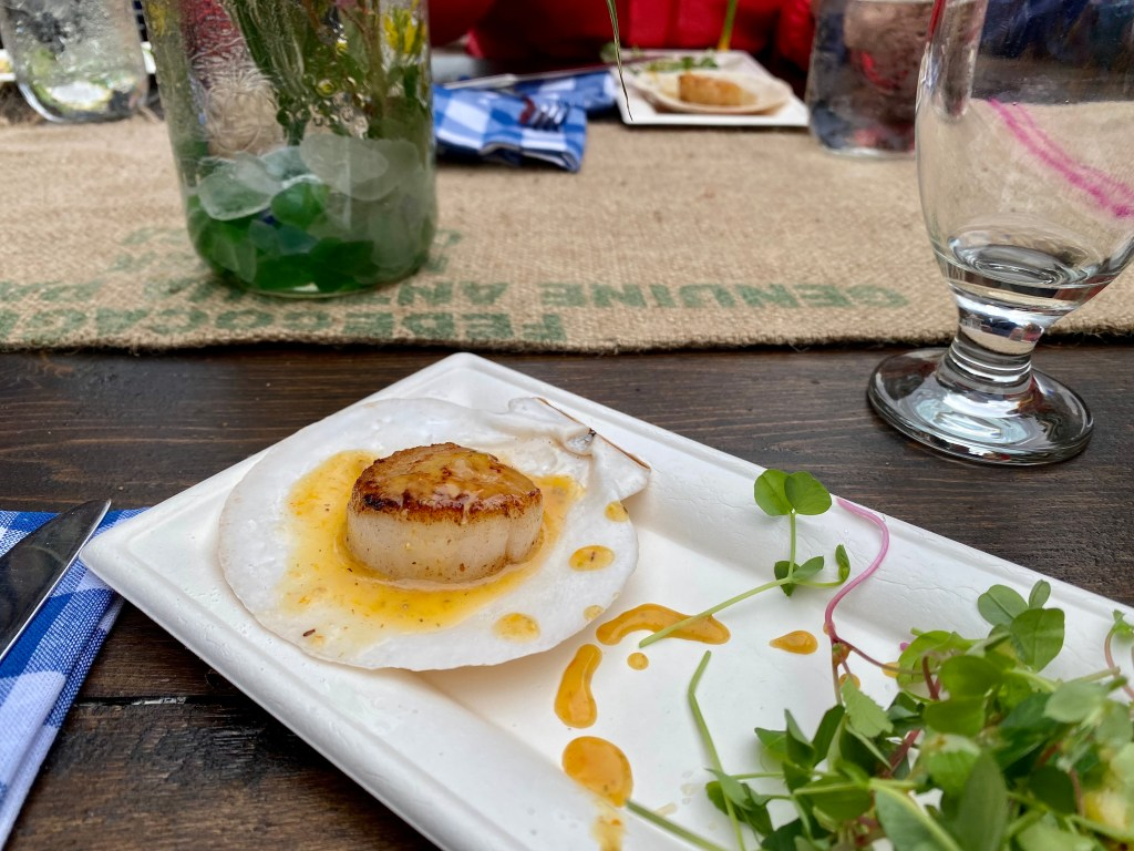 : a seared scallop served with micro greens and drizzled with a Seabuckthorn and Wabanaki Maple barrel aged bourbon maple syrup vinaigrette