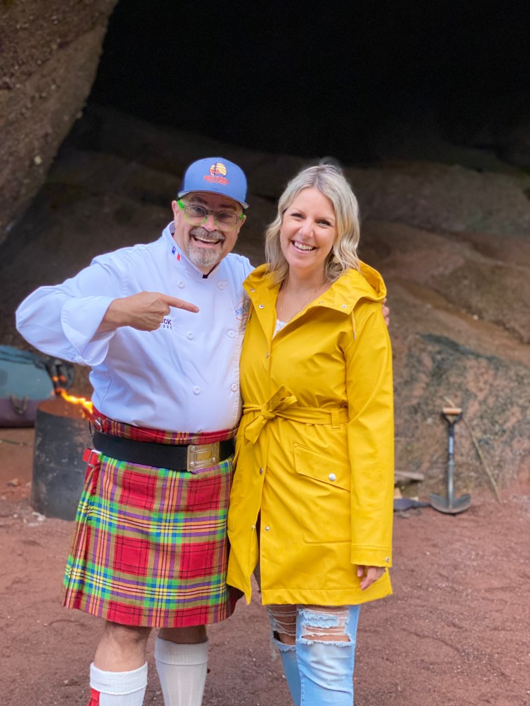 Crystal Richard of East Coast Mermaid and The Kilted Chef posing together in a Sea Cave