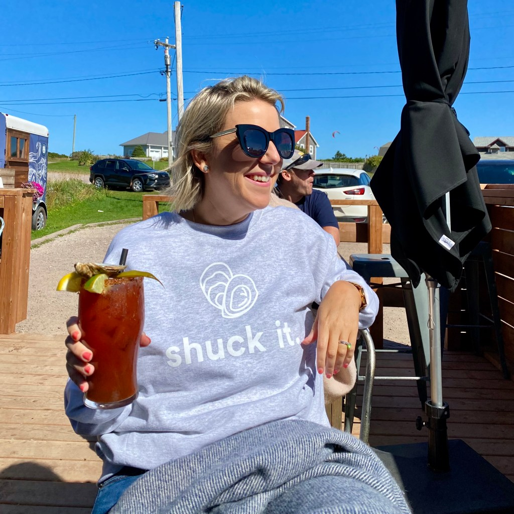 Crystal Richard outside at Blue Mussel Cafe in North Rustico