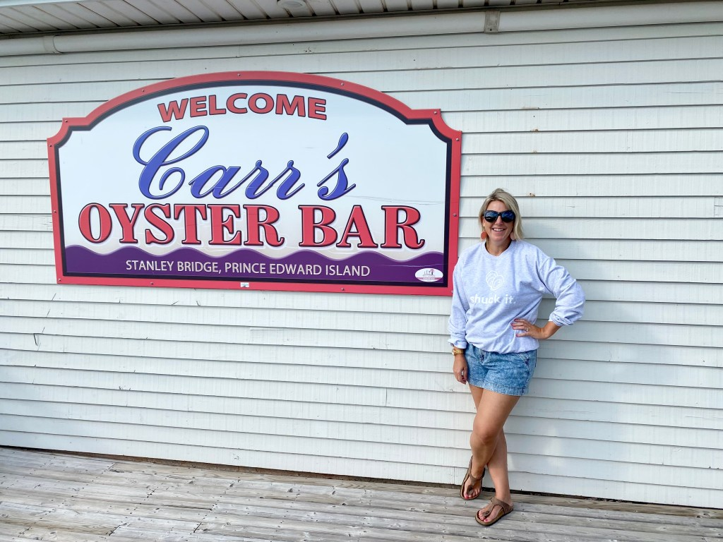Crystal Richard next to Carr's Oyster Bar in Stanley Bridge