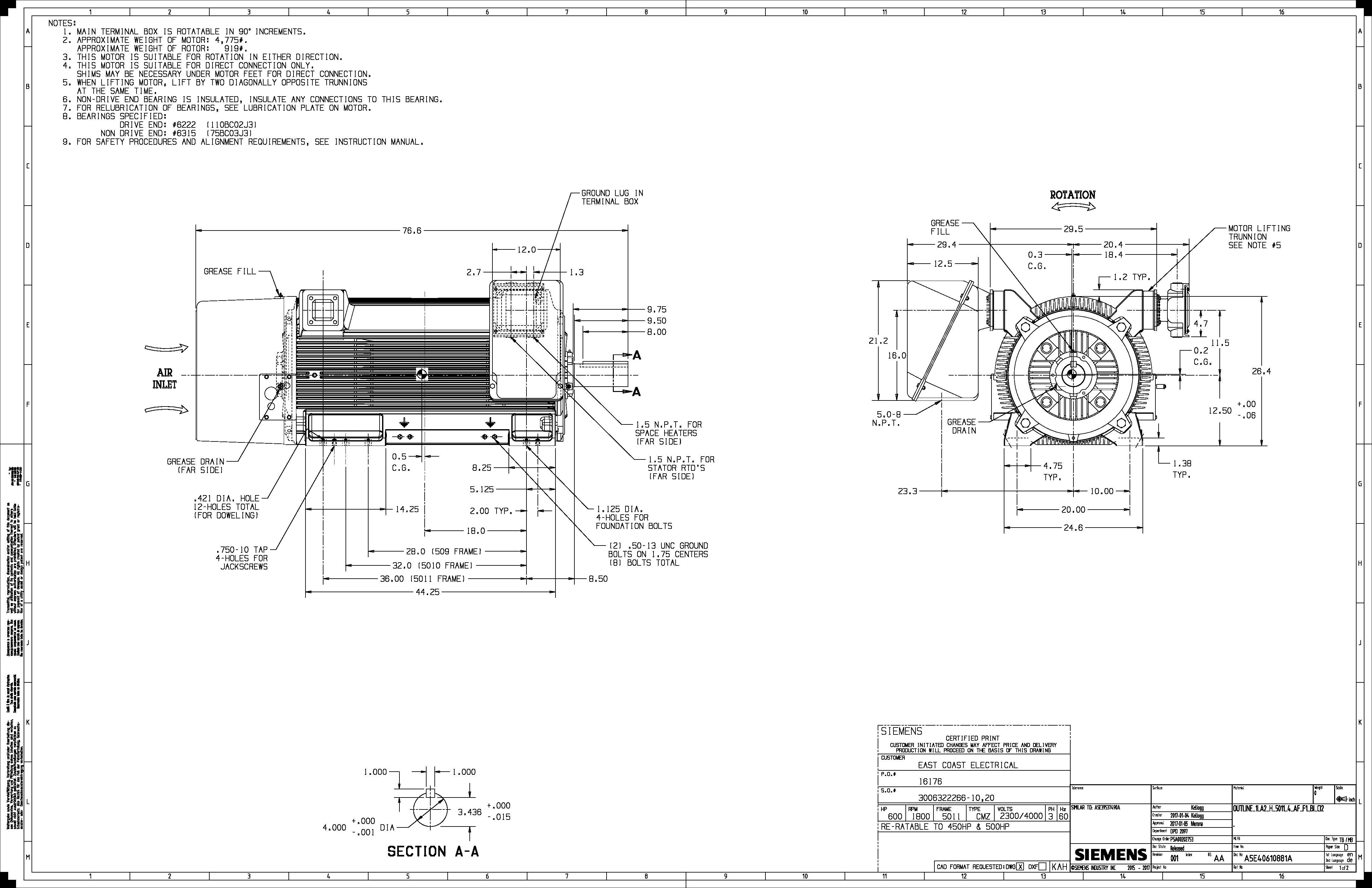 600 Hp Rpm Siemens Frame Bbtefc V