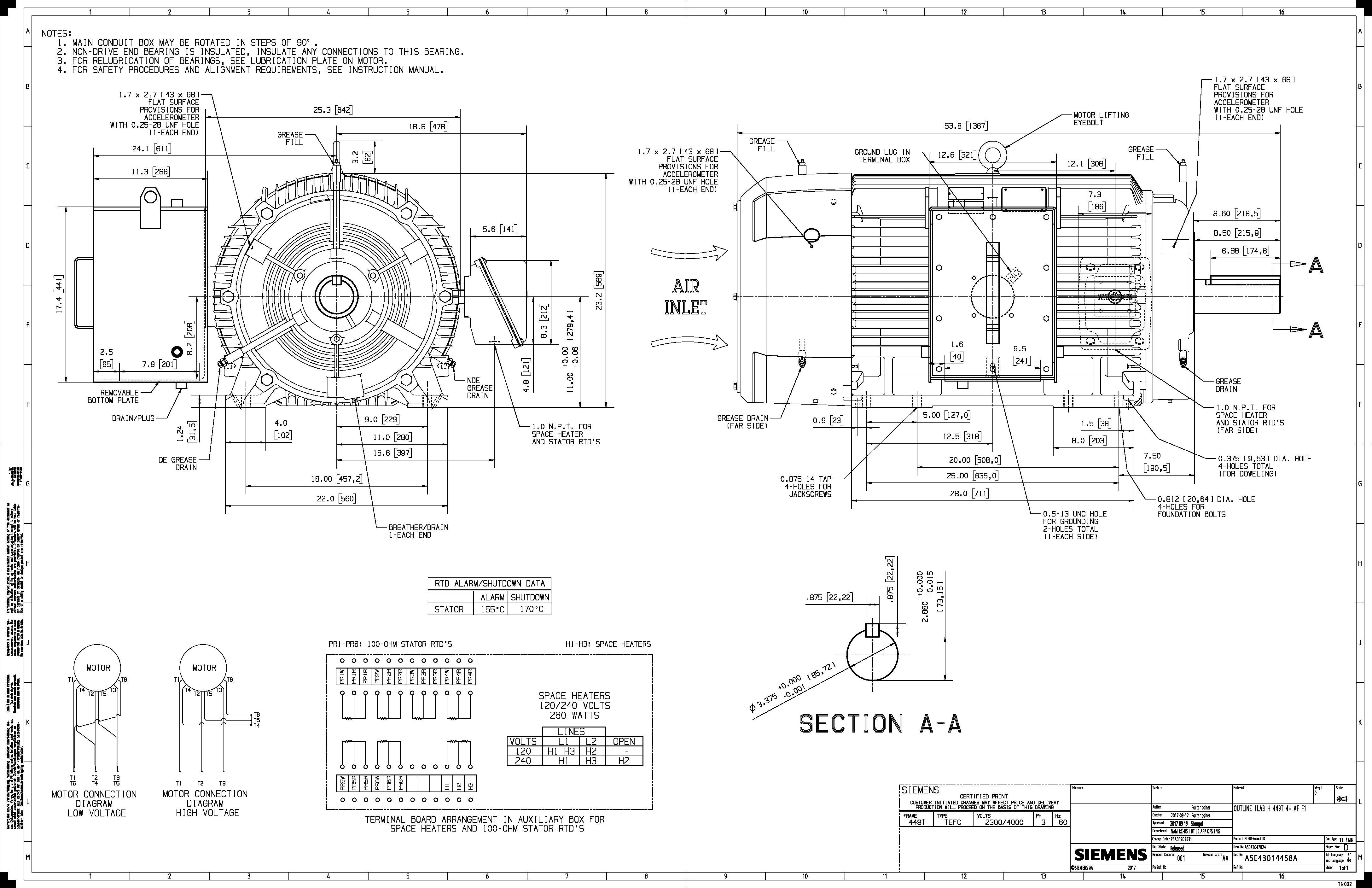 250 Hp Rpm Siemens Frame 449t Bbtefc V