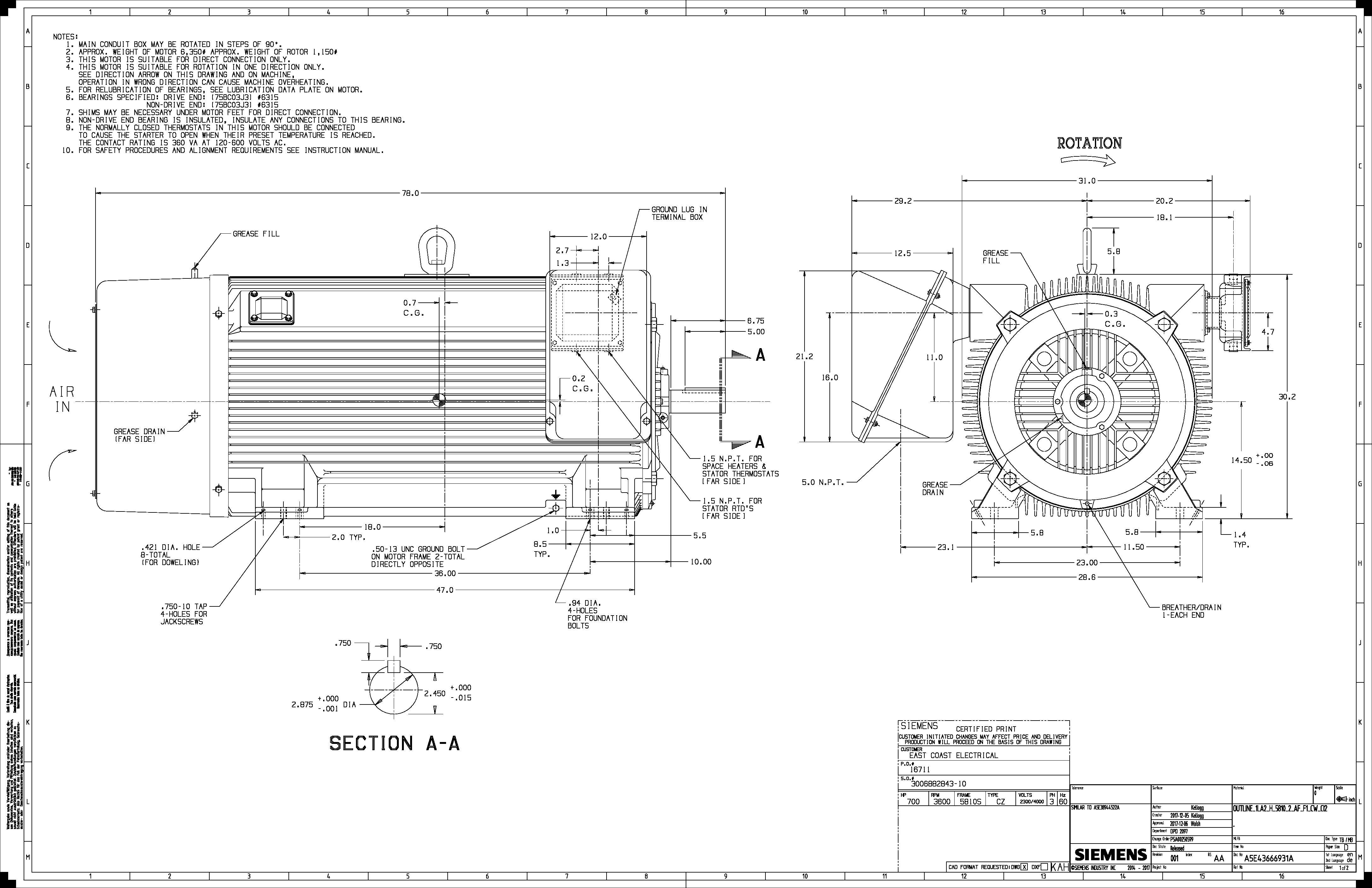 800 Hp Rpm Siemens Frame S Bbtefc V New 2