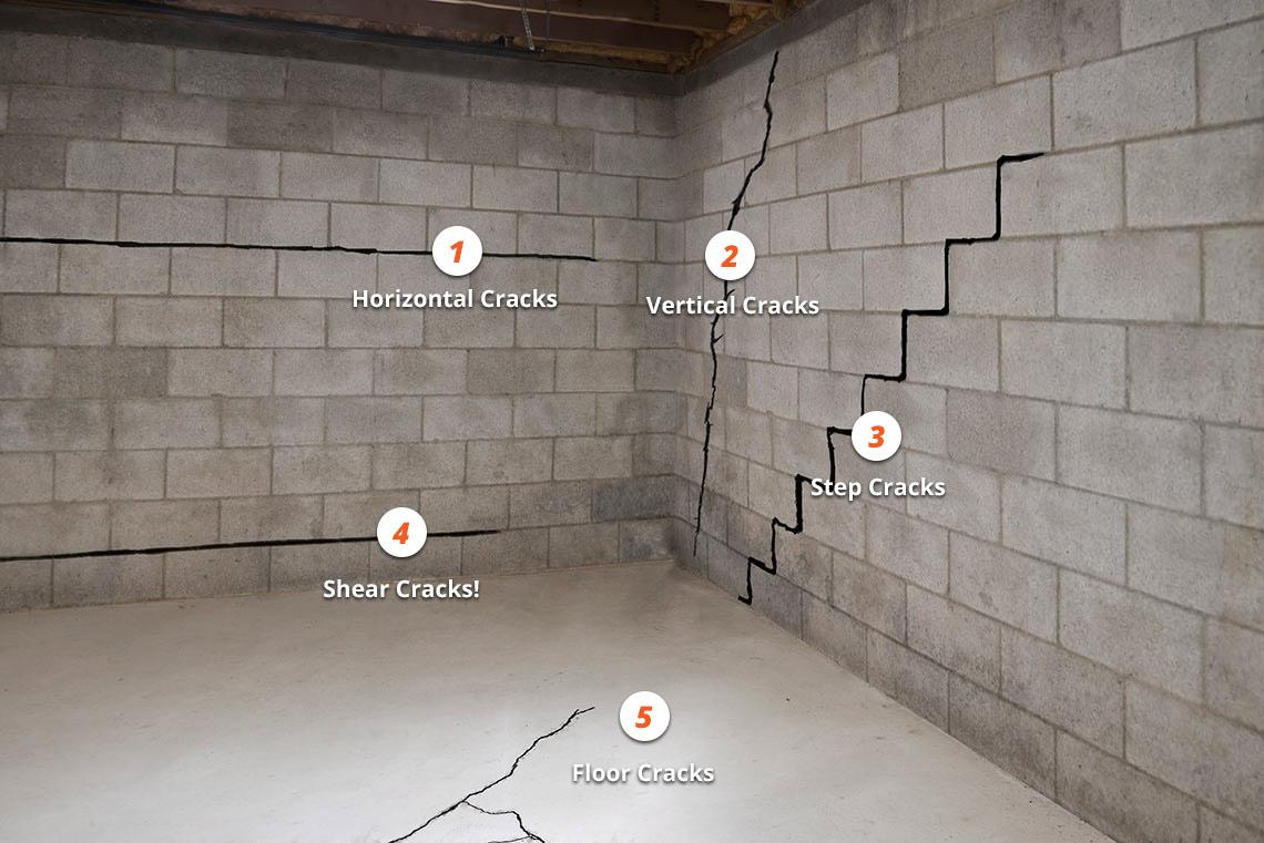 Concrete block foundation crack repair methods for Cinder block vs concrete foundation
