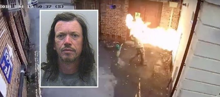 Exeter Synagogue arsonist Tristan Morgan is engulfed in a fireball. Picture: Devon and Cornwall Police