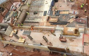 An aerial shot of the Exeter Bus Station site.