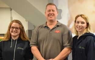 Ottery St Mary: Jen Steward and Claire Phaby of Baby Sensory are pictured with Tickety-Boo owner Stuart Phillips.