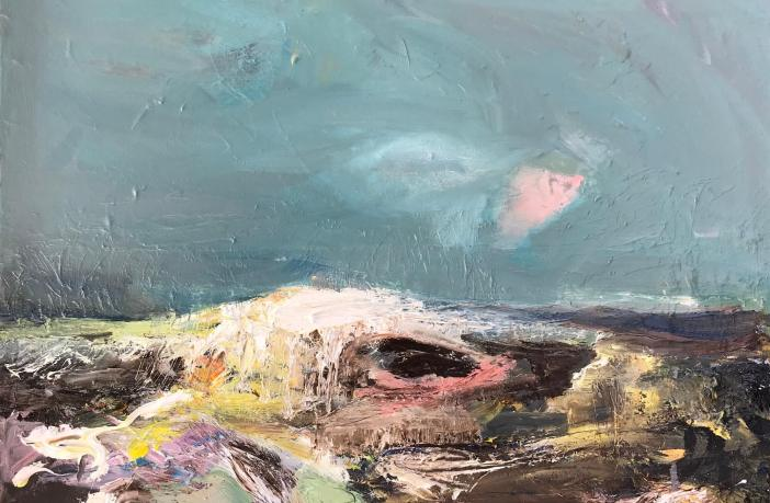 Claire Barnett's Autumn Sea oil on canvas will be among artwork on shoe at the Thelma Hulbert Gallery in Honiton.