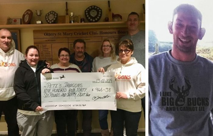Left - Gemma Youlden presents a cheque for £946 from last year's event to Pete's Dragons trustee and fellow Ottery St Mary resident Lesley Rowland. Also pictured (l-r) are Graham Rowland, Caroline and Dave Youlden, and Vicky and Rob Johns of Ottery Cricket Club. Right - The event was organised in memory of Rob Youlden, a much-loved dad, son, brother and uncle.