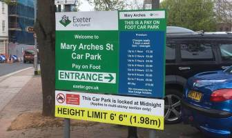 Mary Arches Car Park is among the places in Exeter where free parking has been introduced on Thursday nights.