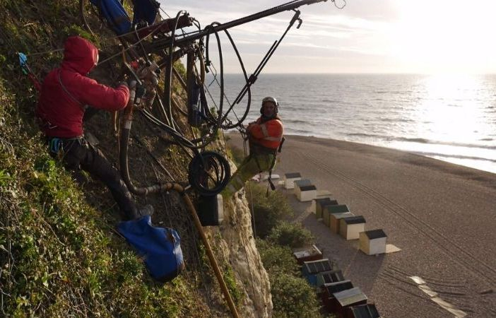 Contractors from Vertical Technology Ltd carry out work on the cliffs in Beer. Picture: East Devon District Council