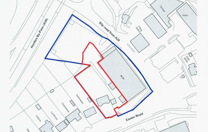 Plans for a bigger Aldi store and car park in Honiton - the blue line shows the current site, with the plot earmarked for extension in red. Image: Aldi