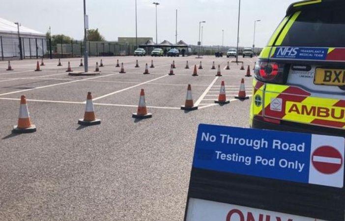 The drive-thru coronavirus testing centre at Sandy Park, Exeter. Picture: Devon Freewheelers