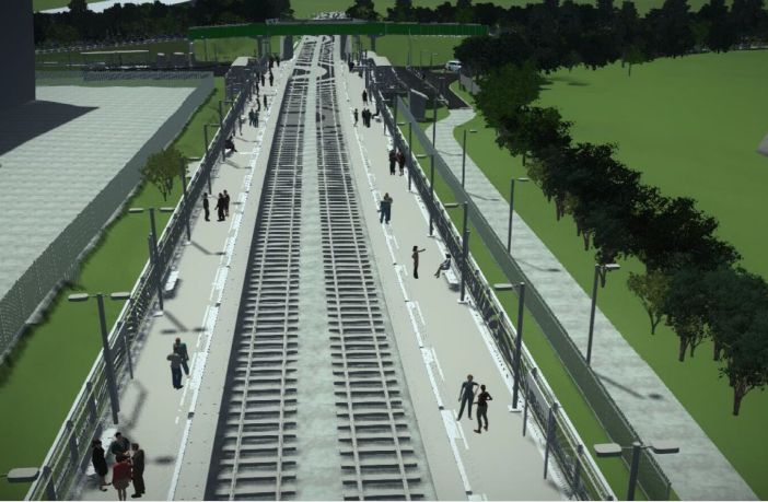 An artist's impression of the new Marsh Barton railway station in Exeter. Image: Devon County Council