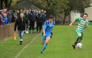 Beer Albion and Seaton Town in action in the East Devon derby. Picture: Sarah McCabe